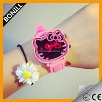 Women Lady Girls Kids Pink Hello Kitty Face Silicone Wrist band LED Watch Gift