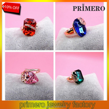 PRIMERO The Gorgeous 18k Plated Ring Crystal Rings For Woman And Fashion Four versions wedding rings sets