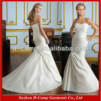 WD-267 Strapless fitted bodice cheap ivory satin wedding dresses wedding dresses for sale wedding dress price