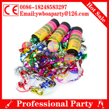 10cm plastic party popper with metallic foil streamer