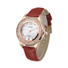 Hot selling red leather strap watch lady japan movt diamond quartz watch