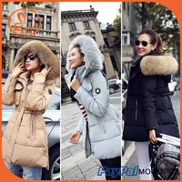 Winter Women Jacket Long Down Coat Super Large Collar Parka Coat Hooded Fur Cloak Full Sleeve Thicken