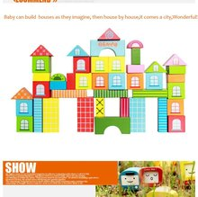 42PCS Wooden City Blocks, Small Toy Wooden House