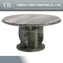 high gloss round stone travertine marble top dining table for home furniture