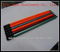 "7"" Black Wooden HB Pencil With Eraser Graphite Pencil"