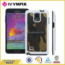 Super quality for samsung note4 camouflage pu cell phone case cover