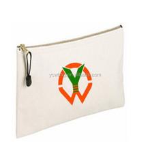 Plain white fabric cotton canvas clutch zipper Bag