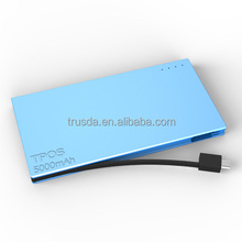Family Use Ultra slim aluminum case charge power bank 5000mAh for iPad, iPhone and smartphones
