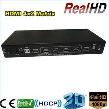 4x2 Full HD Transmitter Receiver Matrix Switch With IR / RS232 VGA RCA