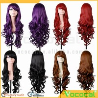 80 cm Long Fashion Synthetic Colorful Red Purple Brown Black Party Cosplay Hair Wigs