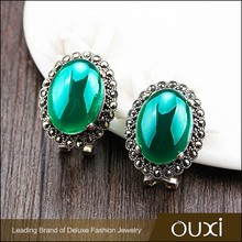 OUXI wholesale antique Green Thai sterling silver earrings with Agate G20001-1