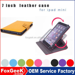 multi degree rotation Leather Case For IPad with 9 10 colors and stand tablet cases for ipad mini