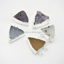 C150211033 Agate Silver Plated Edge Triangle Connector.Double Bail Triangle Pendant