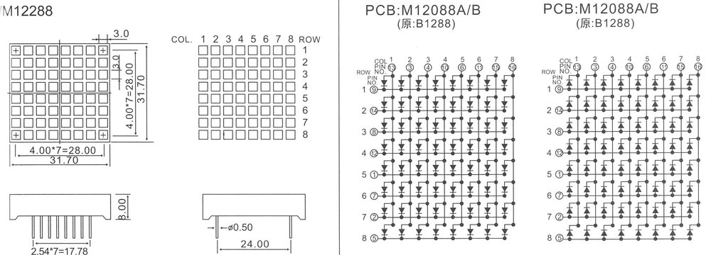 square led dot matrix display 8x8 led matrix dot pixel display,CC/CA