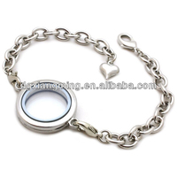 Stainless Steel Floating Locket Dangle Charms Bracelets