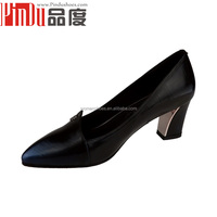 Whosale low price high quality genuine leather Women Dark blue dress shoes 2015