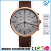 PVD Gold case genuine leather strap 5ATM water resistance harden mineral glass custom brand watch
