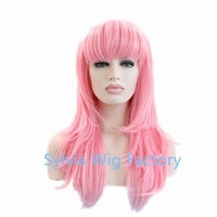 wholesale hot sale pink cosplay Synthetic Lace Front Wig with bangs Glueless Long for africa american black women