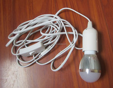 12V 3W Solar LED Bulb with Cable,LED bulb with lamp holder and switch ,12v DC 3W Solar Bulb/LED Light Bulb