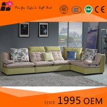 Modern Fabric Solid Wood Corner Sofa Set With Recliner For Sale