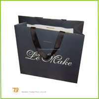 China custom high quality black paper packaging bags , shopping bags for sale