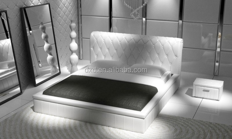 luxe blanc lit en cuir de haute t te de lit literie id de. Black Bedroom Furniture Sets. Home Design Ideas