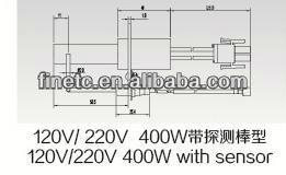 120 V / 220 V 400 W con sensor de nitruro de silicio de la superficie caliente encendedor para horno de gas de encendido