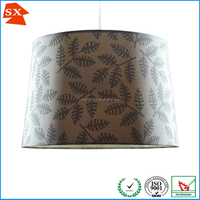 Oriental retro style blue red purple natural leaves pattern big lighting shade