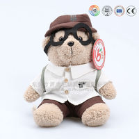 Wholesale cheap teddy bear wearing T-shirt with logo & teddy bear with glassed