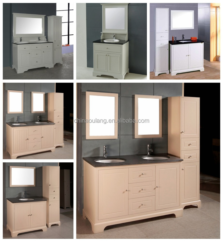 european style modern mdf bathroom wash basin mirror cabinet vanity
