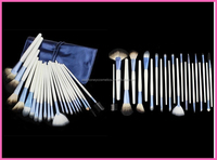 Professional 22 PCS Cosmetic Facial Make up Brush Kit Wool Makeup Brushes Tools Set with Black Leather Case Quantity Limited