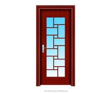 laminated Glass Insert Solid Wood Door for interior bathroom
