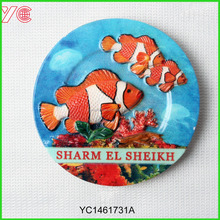 YC1461371A Wholesale Sharm El Sheikh Round Shape Country Souvenir Fridge Magnets With Sea Fish