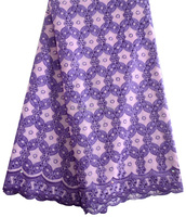 African Lilac and Purple Big Swiss Voile Lace Fabric 100% Cotton Embroidery Lace