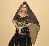 Wholesale accessories ladies belly dance headpiece square chiffon silk veil for sale