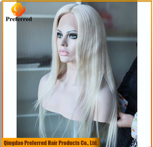 High quality 100% human hair full lace white wigs 150% density