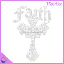 FAITH CROSS motif strass transfers iron-on t-shirt , rhinestone transfer custom design for t-shirt