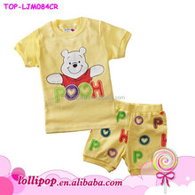 2015 Hot sale high quality Winnie cartoon sports outfit wholesale baby pajamas outfit