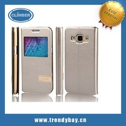 USAMS brand leather flip cell phone cover for samsung galaxy j1 case