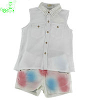 brand garment manufacture child clothing set with blouse and shorts 2014 fashion design clothes sets for wholesale