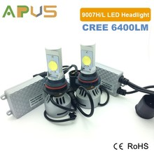 2 years warranty CANBUS 6400LM 9007 Hi Lo high power led headlight for car