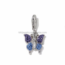 Eco-friendly Rhodium Plated Blue Purple Crystal Butterfly Animal Charms Jewelry With Lobster Clasp