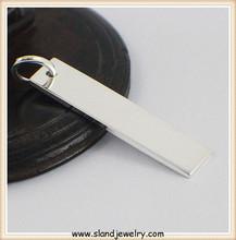 Rectangel bar necklaces sterling silver name charms, custom engravable 925 sterling silver charms