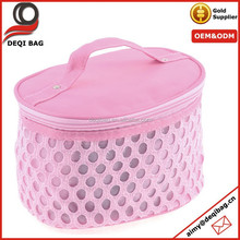 Pink Zip Up Hollow Out Circle Pattern Cosmetic Bag Makeup Tool Holder