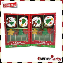 Merry Christmas Paper Cake Cup Set For Sales Party Theme Supplies