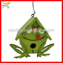 Green wooden frog bird house