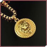 Antique Personlized Lion Head Micro Paved 18K Golden Pendant Necklace Low MOQ Jewelry