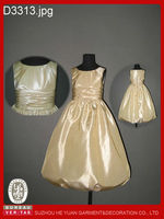 Gold colour girls puffy dresses for kids