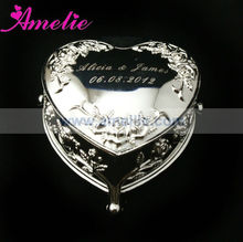 AE037 Wholesale Personalized Rose Pattern Engrave Jewel Box Wedding Favour