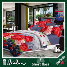 Unique flower design Fashion Reactive printing 100% polyester flannel fabric hand embroidery bed sheet